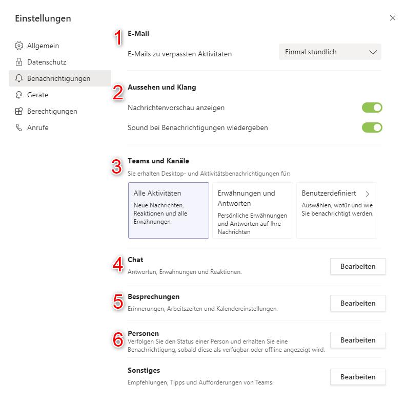 Benachrichtigungen verwalten im Microsoft Team