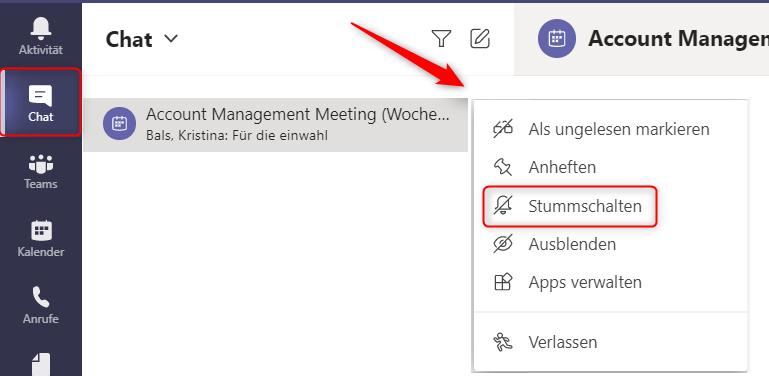 Microsoft Teams Chat Stummschalten
