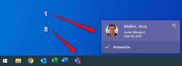 Desktop-Benachrichtigungen von Microsoft Teams