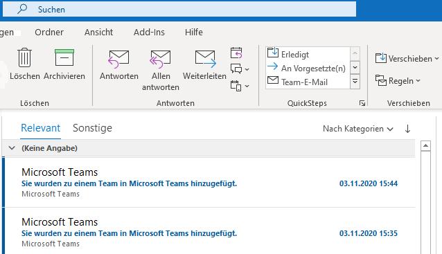 E-Mail-Benachrichtigungen von Microsoft Team