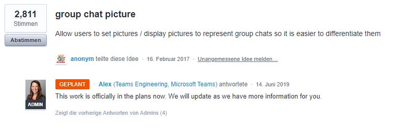 Microsoft Antwort Gruppen Chat Bild