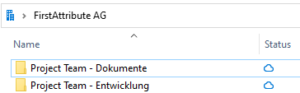 "Neuer Ordner ""Project Team – Dokumente"""