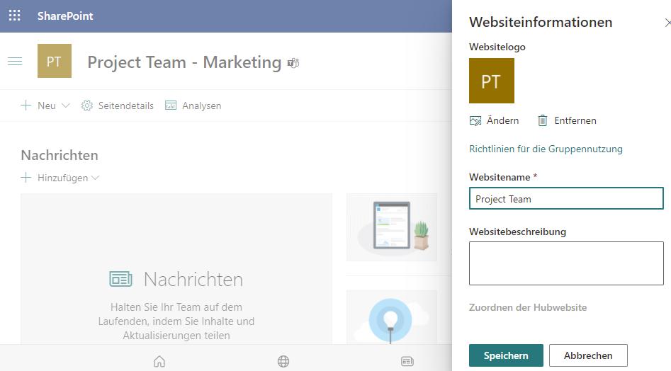 """SharePoint-Site umbenennen für neuen privaten Kanal """"Marketing"""""""