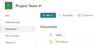 Öffentliche Kanäle besitzen keine separate SharePoint-Site