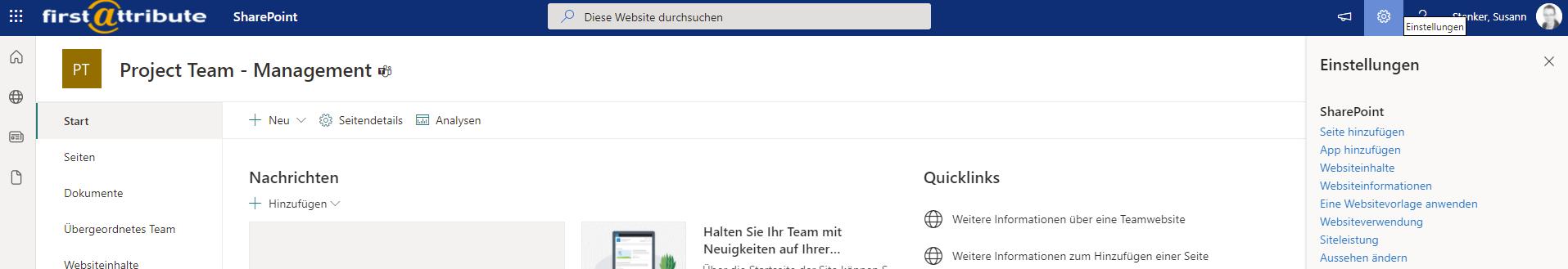 Titel der SharePoint-Site ändern